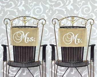 Mr. & Mrs. Country-Inspired Wedding Chair Covers
