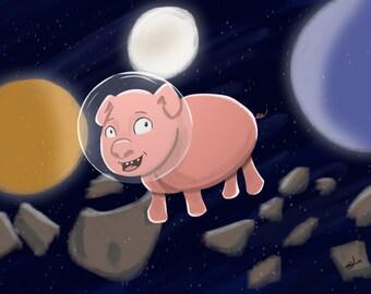 Space Pig, Original Art Poster Print, Digital Art
