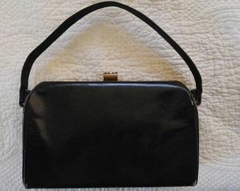 Vintage Black Vanity Square Top Handle Bag Made in USA