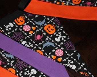 Halloween bunting, creepy pumpkins, purple, orange
