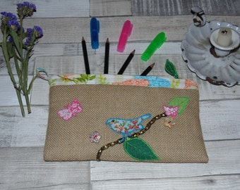Hessian, appliqued pencil case with inner pocket