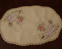 Vintage Crinoline Lady Doily Large Off White Linen Hand Embroidered with Crocheted Border Doiley 16 1/2 inch  (42 cm) X 11  inch (28 cm)