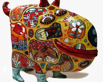 Сeramic figurine of a dog, big dog, Gifts for dog lovers, ceramic dog, colorful dog, dog figurine, statuette dog, sculpture dog, funny dog