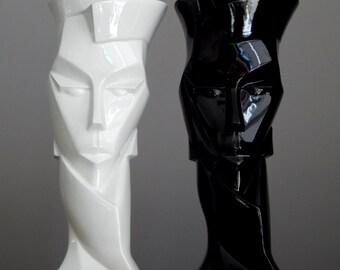 2 x ABSTRACT Vintage 1987 Signed WEITSTETTER  Black & White Porcelain Head Vase Set German