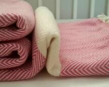 Pink Herringbone blanket Fringed throw for Kids  Children Bed Cover Chevron Blanket throw Handmade Home textile Extra Big Blanket