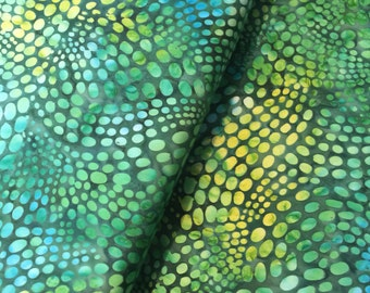 Batik Fabric Artisan Tropical Green Spots Fat 1/4 or Yardage Hoffman Bali Robert Kaufman Moda Calypso Cotton for Fiber Textile Art