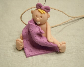 Polymer Clay Baby girl with a blanket