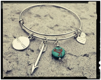 Happiness - Adjustable Charm Bangle - Arrow & Turquoise Bird Coin Bead - Gift for Her /Stacking Bracelet