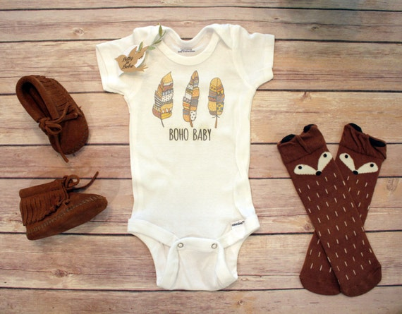 Boho Baby Clothes Hippie Feathers Baby esie by BittyandBoho