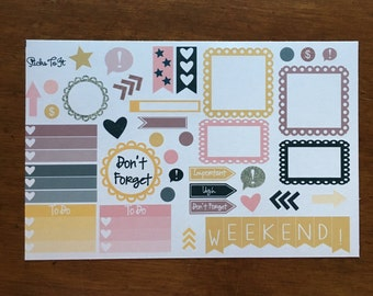 So Chic Build Your Own Kit Call Out Functional Erin Condren ECLP Mambi Inkwell Press Filofax Kikki K Happy Life Gold Glitter Black Stickers