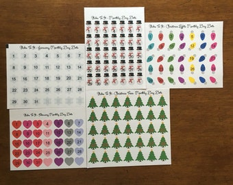 "Seasonal Themed Monthly Day ""Dot"" Stickers ECLP Mambi Inkwell Press Filofax Kikki K Happy Life Planner Erin Condren"