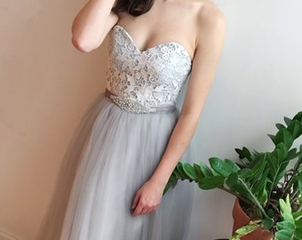 SAMPLE SALE Gray Lace Strapless Wedding Dress Vintage Boho Style