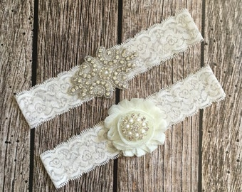 Wedding garter, rhinestone garter, ivory garter, garter toss, lace and pearl, wedding garter set, garter set