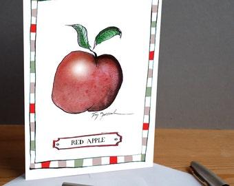 red apple -  fun greeting card