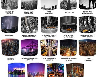 New York City Lamp shades, To Fit Either a Table Lamp base or a Ceiling Light Fitting.
