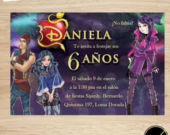 Descendants Invite, Disney Descendants invitation, The Descendants Birthday Party Printable Invitation, The Descendents, Mal invitation,