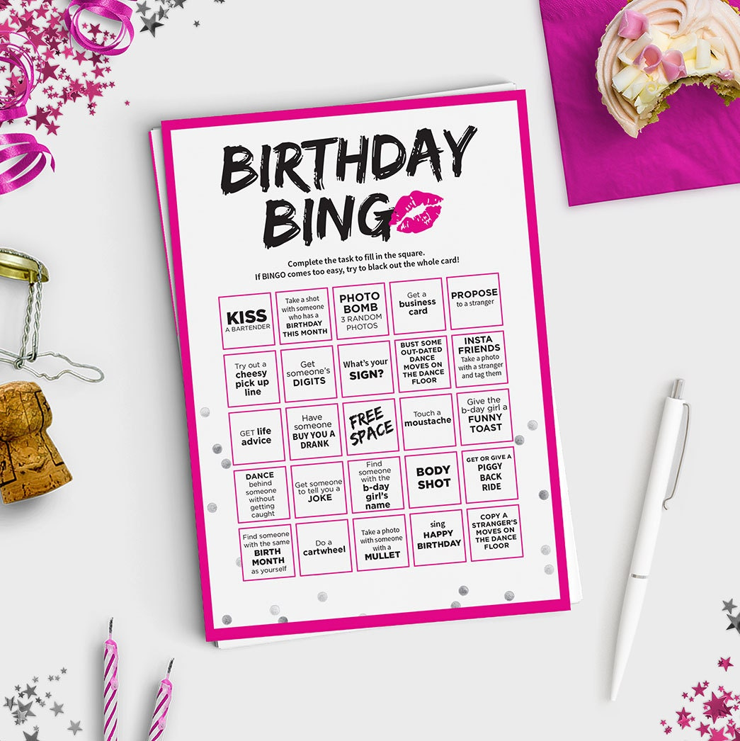 Fun adult birthday game birthday bingo scavenger hunt for Birthday games ideas for adults