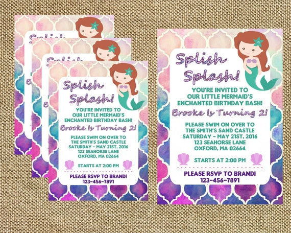 Mermaid Birthday, Little Mermaid Invite, Mermaid Invitations, Splish Splash, Girl's Birthday, Under The Sea Invite (Digital File)