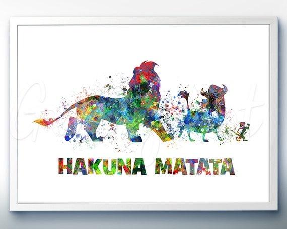 Lion King Home Decor: Disney Lion King Hakuna Matata Watercolor Art Print Wall