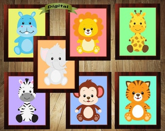 Safari Nursery, Jungle Nursery, Safari Prints, Jungle Prints, Animal Prints, Safari Baby, Jungle Baby, Animal Baby, Safari Jungle Animals