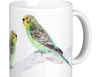 Budgie Mug, Budgerigar Gift Mug, pet parakeet , shell parakeet, Gift Mugs, Bird Gift Mug