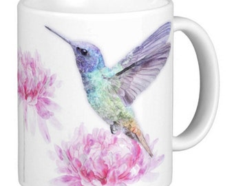 Hummingbird, Hummingbird Mug, Gift Mug, Bird Gift Mug, Hummingbird watercolor painted print mug