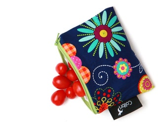 Bright Flowers Reusable Snack Bag with zipper