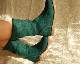 Outdoor felted shoes with rubber soles. Shoes. Eco fashion shoes for women, woman. Felted boots for women.
