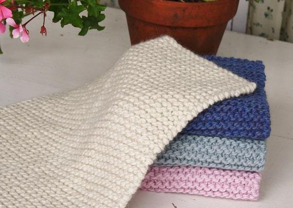 Knitted Garter Stitch Blanket In Sheepsdown : Doll blanket Knitted in garter stitch of chunky by MonPilou