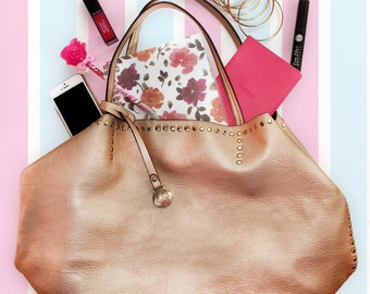 Rose Gold Studded Large Tote Bag Purse Handbag Slouchy