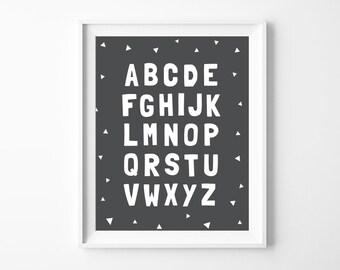 Printable Nursery Alphabet Poster, Grey Nursery Decor, ABC Wall Art Printable, Modern Baby Room Art, Instant Download *DIY PRINT*