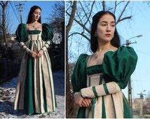 Renaissance Lucrezia Borgia Inspired Dress Historical Costume 16 Century Handsewn