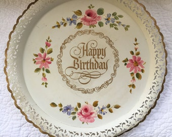 Happy Birthday Vintage Tole Tray Flowers Chic and Shabby
