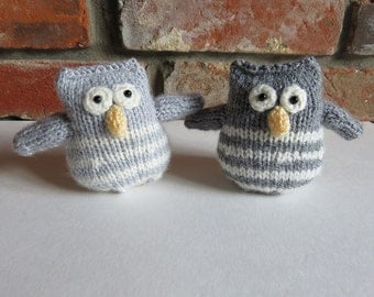 Soft Stripey Grey Hand Knitted Owl
