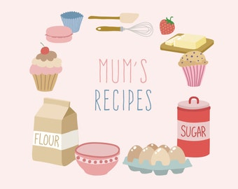 Mum, Mother's Day, Birthday, Gift ,Recipe Notebook 210mm x 210mm