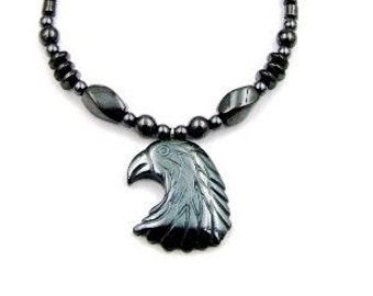 Eagle Magnetic Hematite Necklace, Hematite Eagle Necklace, Magnetic Hematite Necklaces with Eagle Pendant (MHN-114TE)