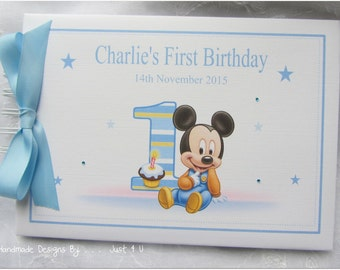 Personalised DISNEY MICKEY MOUSE 1st Birthday Guest Book / Scrapbook Memory Album