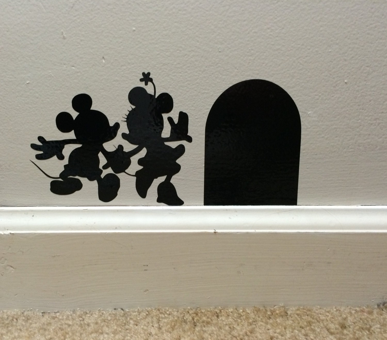 Mickey Mouse Wall Decals Etsy : Mickey And Minnie Vinyl Wall Decal Disney  Wall Art Vinyl