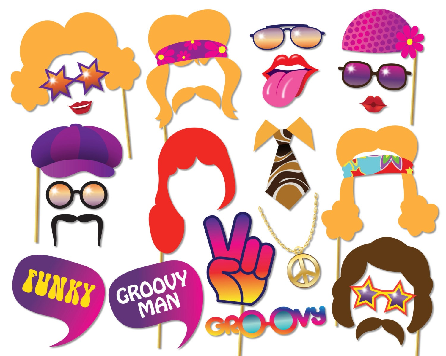 70s party photo booth props set 1970s party decorations for 70 s party decoration