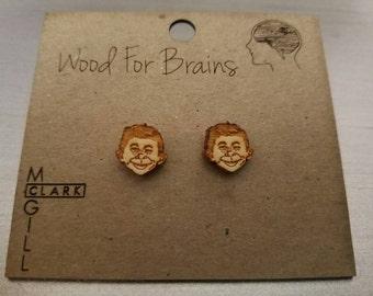 Alfred E Newman (Mad) - Laser cut wood stud earrings