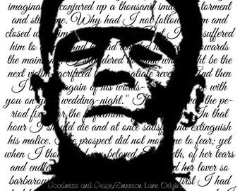 Frankenstein Silhouette and Excerpt Digital Print