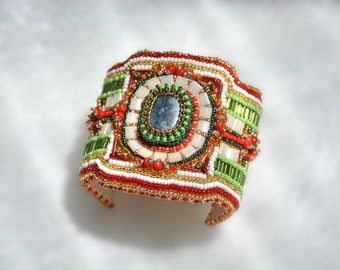 """Embroidered seed bead cuff bracelet """"Vitality"""""""