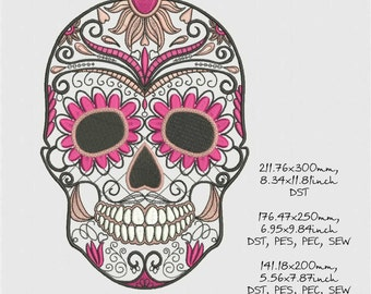 sugar skull, machine embroidery design, three sizes, instant download