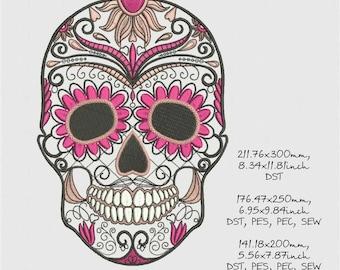 sugar skull, machine embroidery design, three sizes, instant download