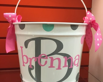 Personalized Easter Bucket- Girl's White Bucket- Monogrammed Bucket- 10 Quart Bucket-Easter Basket- Easter Pail - White Bucket- Pail-Girl