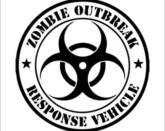 Zombie Response Vehicle Vinyl Sticker Decal - Zombie Bio Hazard Team Laptop Sticker Window Sticker Car Decal