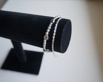 Silver plated beads bracelet, antic silver beads, hematite beads bracelet
