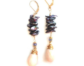 Coral and Tanzanite Earrings--Coral and Freshwater Pearl Earrings--Tanzanite Earrings--Gemstone Earrings