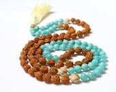 Amazonite Rudraksha Mala, Grade AA Peruvian Amazonite, crystal healing, blue beaded necklace, tassel necklace, meditation beads,prayer bead