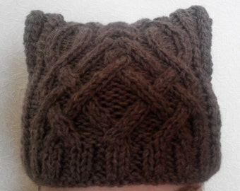 A knitted hat for women. Hand made. Kitty style
